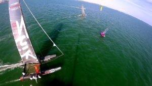 <b>Regatta - Wer ist schneller ?   Hydrofoil Kitesurfer, Moth, Nacra F20 FCS, and Marstrom 32</b>