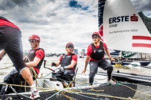 <b>Extreme Sailing - Hamburg Live - mit den Finnseglern Max und Phillip</b>