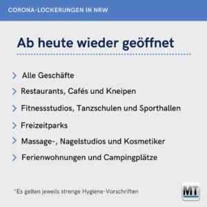 <b>NRW - ab heute wieder geöffnet</b>