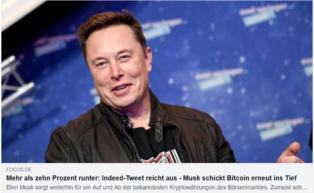 Elon Musk schickt Bitcoin ins...